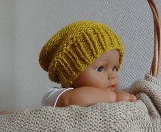 Newborn Hipster Hat Baby Fall Winter Hat Slouch by IfonBabyLand