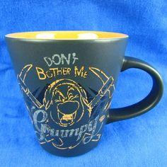 Disney Grumpy Dont Bother Me Orange Black Coffee Mug Snow White Seven Dwarfs Cup #Disney