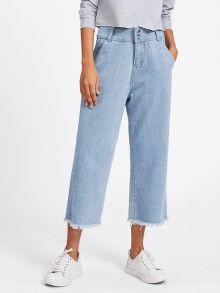 Buy Raw Hem Wide Leg Jeans