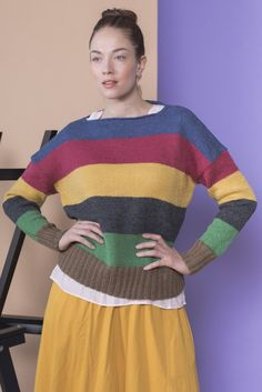 This light sweater is full of colour! Knitted in simple stockinette stitch, the colours really pop and stand out. The wide stripes give this garment a relaxed and calm look despite the many colours. Knitted with Novita Nalle wool yarn. #novitaknits #knitting #knit #knits #pullover #sweater #stripes #colour #womensclothing #diy #handmade #handicrafts #pattern #knittingpatterns #knittingideas #knittinginspiration