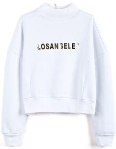 White Stand Collar LOSANGELES Print Crop Sweatshirt - Sheinside.com