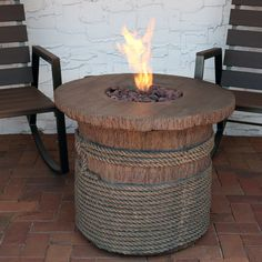 Rope and Barrel 29 Propane Gas Fire Pit Table with Lava Rocks - Round - Sunnydaze Decor, Beige Fireplace Kits, Backyard Fireplace, Steel Fire Pit, Wood Burning Fire Pit, Barrel Fire Pit, Outdoor Propane Fire Pit, Natural Gas Fire Pit, Gas Fire Pit Table, Round Fire Pit Table