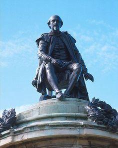 C A B Stratford Upon Avon Shakespeare statue in Stratford-upon-Avon near the Avon river.