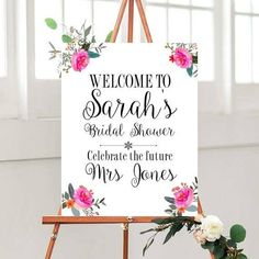 Bridal Shower, Custom sign,  Bridal Shower Decor, Wedding Printables, Printable, floral Sign, Custom wedding sign, digital Download