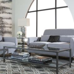 Studio Designs HOME Camber Coffee Table, 71000, Metal and Glass Coffee Table, Grey, Gray, Living Room, Occasional Tabes
