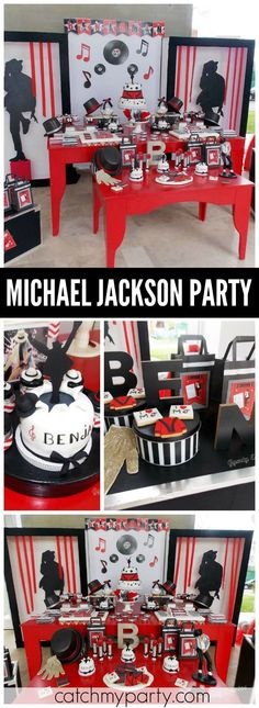 How cool is this black, white and red Michael Jackson party! See more party ideas at CatchMyParty.com!