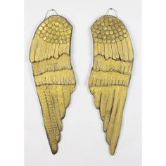 Gold Painted Wood Angel Wings, Set of 2 ($170) ❤ liked on Polyvore featuring home, home decor, rustic home accessories, wooden home accessories, gold home accessories, rustic home decor and rustic wood home decor