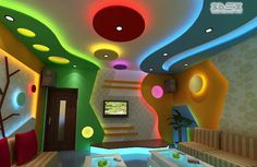 POP false ceiling design with colored LED indirect lighting for living rooms Full catalog for POP design for false ceiling designs for the hall and living rooms, A collection of POP ceiling designs with LED indirect lighting ideas