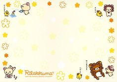 rilakkuma and flowers Free Printable Stationery, Printable Scrapbook Paper, Cute Stationery, Printable Paper, Hello Kitty Wallpaper Hd, Cute Desktop Wallpaper, Memo Template, Rilakkuma Wallpaper, Sunflower Wallpaper