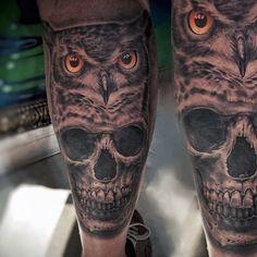 3D owl tattoos for men with skull