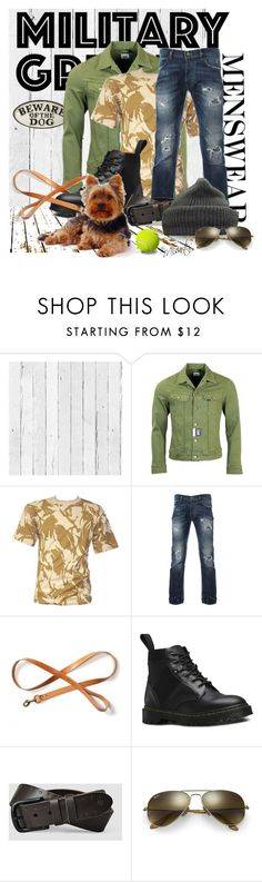 """Beware of the Dog"" by misartes ❤ liked on Polyvore featuring NLXL, Filson, Dr. Martens, AllSaints, Ray-Ban, men's fashion, menswear and Gogreen"