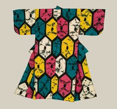 The graphic boldness of this kimono fits well into the Taisho era in which it was created: an era of design creativity and confidence. The unusual patterns with the hexagonal motifs were created utilizing the shibori tie-dye technique. 1912-26, Japan. The Kimono Gallery