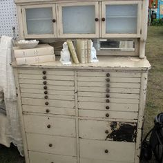 Curious Sofa Diaries: Texas Whites (part 1 of 6)  and who wouldn't love this dental cabinet...