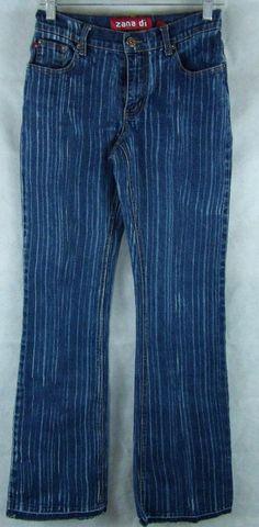"""Zana Di Distress Streaked Rough Hem Denim Blue Stretch Jeans Size 5 Inseam 31"""" #ZanaDi #BootCut"""