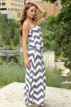 GREY WHITE SKIES DROP WAIST CHEVRON MAXI DRESS $40.00