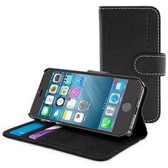 Snugg iPhone 6 Plus Leather Flip Case in Black - Flip Wallet case with Card Slots, Stand and Premium Nubuck Fibre... $19.99