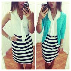 Work outfit Summer to fall / business casual - blue strip pencil skirt, white top, green cardigan  More outfits and beauty product recommendation on Instagram: famousames by reva