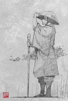 Buddhist priest character sketch by Saito Tsunenori, from 'Sutorenjia: Muko Hadan' (Sword of the Stranger).