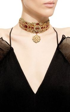One Of A Kind Diamond, Tourmaline And Pearl Choker by Amrapali for Preorder on Moda Operandi