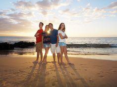 Happy family sunset portraits on a Maui Beach. View more at: https://mauiislandportraits.com/happy-family-sunset-portraits-on-maui/
