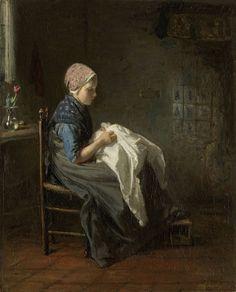Jozef Israëls:  'Het naaistertje', 1850/88,  oil on canvas,  Rijksmuseum Amsterdam