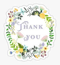 Thank You Floral Wreath Sticker