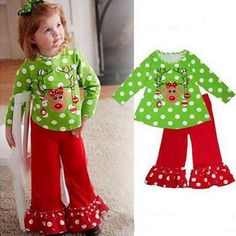 Toddler Christmas Girl Outfit Set Green Deer T-shirt with Polka Dot + Ruffle Red Pants Two Pieces Sets Long Sleeve Kids Clothing(China (Mainland)) Cute Toddler Girl Clothes, Toddler Girl Outfits, Kids Outfits, Children's Outfits, Girls Christmas Outfits, Baby Girl Christmas, Christmas Clothing, Christmas Deer, Toddler Christmas