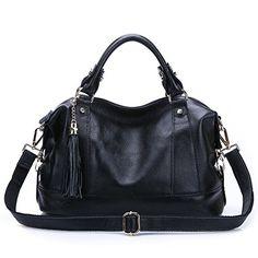 174fc4da74 Leyan Women s Genuine Leather Handbag Tote Shoulder Bags Tote Cross Body Purse  Black Shoulder Bag