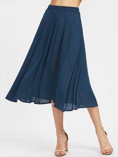 Elastic Waist Crinkle Flowy SkirtFor Women-romwe