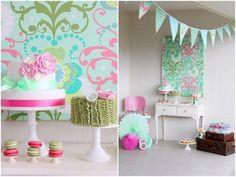 Fiesta de cumpleaños en verde y rosa