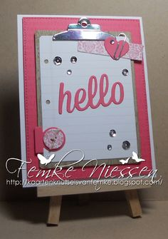made by femke niessen: pink hello. dienamics: blueprints 6,13,15, office supplies, washi tape, happy hellos. I cut the clip 4 times from silver mirror cardstock and scored half way so it almost looks like a real closed clip.
