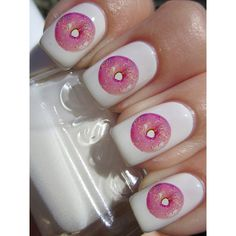 Donut Nail Decals 36 Ct. ($4.85) ❤ liked on Polyvore featuring beauty products, nail care, nail treatments, nails, makeup, beauty and nail polish