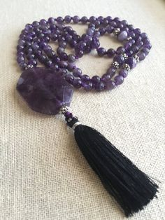 108 Bead Mala Hand Knotted Amethyst Black Tassel   Etsy Tassel Necklace, Tassels, Amethyst, Beads, Trending Outfits, Studio, Unique Jewelry, Handmade Gifts, Etsy