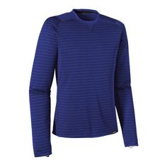 Patagonia Men\'s Capilene\u00AE 3 Midweight Crew - Hardy Stripe: Cobalt Blue/Classic Navy HDCB. Base layers are important while on the trail. Never use cotton as it takes to long to dry. Capilene synthetic base layers are extremely warm and more durable than wool. It's light enough to use all four seasons and warm enough for fall and winter. I love my Capilene shirt.