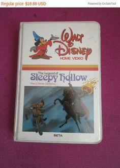 New Walt Disney Sleepy Hollow video on beta max children's video movies classics clam shell rare Disney vintage collectible by MYBARTERZONE on Etsy