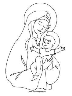 Immagine Maria con Gesù da colorare
