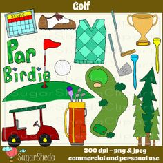 Hand Drawn Golf Clipart Set  sports clipart by SugarShedaClipart, $3.00