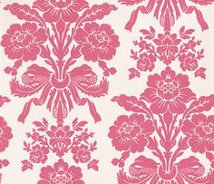 Tatton Cerise (3406700) - Laura Ashley Wallpapers - A beautiful and elegant damask motif of luxurious floral bouquets in a stunning cerise pink on a shimmering pearlescent cream background. Additional colourways also available. Please request a sample for true colour match.