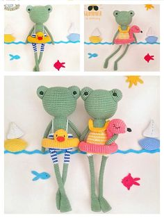 Crochet Frog, Crochet Amigurumi, Crochet Dolls, Free Crochet, Knit Crochet, Crochet Crafts, Crochet Projects, Sewing Crafts, Sewing Projects