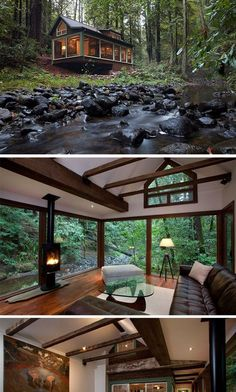 Amazing Tree House Ideas You Need To See Dreamy cabin with a stream running alongside it_ tucked into a forest_ the great outdoors_ nature su Cabin Homes, Log Homes, Tiny Homes, Tiny House Living, My House, Tiny House Family, Future House, Cabins And Cottages, Tiny Cabins