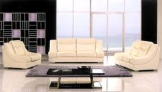 """3pc Contemporary Modern Leather Sofa Set #AM-763-IV by UTM. $1899.00. It is made of 100% selected premium soft bonded leather.. UTM 3 pcs contemporary modern leather sofa set will include ONE sofa + ONE love + ONE CHAIR. Solid wood frame use in the sofa construction. All of the seats and backs are high density (1.9) foam to give comfort and support. All corners are """" blocked"""", nailed and glued for strength and durability. Available Colors See above picture,BLACK, IVORY..."""