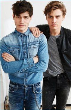 Sam Way and Billy Vandendooren for Mavi Autumn/Winter 2017 Winter 2017, Fall Winter, Autumn, Denim Button Up, Button Up Shirts, The Dark Artifices, Mavis, Hair Styles, Boys