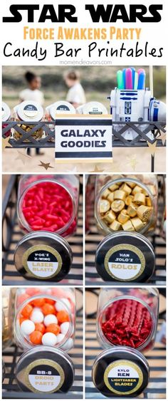 Star Wars Force Awakens Party Idea: Themed Candy Bar {with Free Printables} - Mom Endeavors Star Wars Rebels, Star Wars Essen, Party Planning Printable, Star Wars Food, Star Wars Party Food, Star Wars Themed Food, Kids Party Decorations, Party Ideas, Anniversaire Star Wars