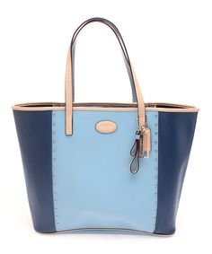 Loving this Coach Ocean & Chambray Metro Color Block Stud Leather Tote on #zulily! #zulilyfinds