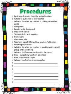 First Day of School Procedures for the Classroom checklist. Excellent!