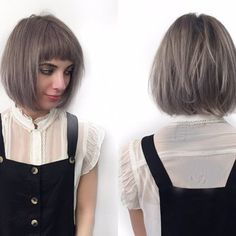 Short bob with razored layers and soft undercut. Cute short mod bangs and lavender violet color. By Denessa Sims | Yelp