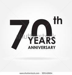 70 years anniversary sign or emblem. Template for celebration and congratulation design. Black vector illustration of 70th anniversary label. - stock vector