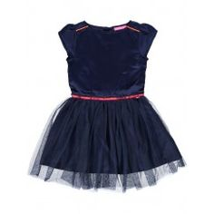 LE BIG jurk satijn tule feestjurk meisje donkerblauw