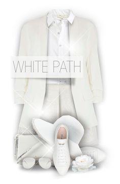 """White Path"" by monazor ❤ liked on Polyvore featuring rag & bone, Maje, Oscar de la Renta, Dorothy Perkins, Kate Spade, Miu Miu, Eric Javits, Yves Saint Laurent, outfit and white"