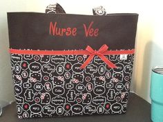 Personalized Diaper bag, tote bag, made with Hello Kitty print fabric by MandaPandaBagsandMor on Etsy
